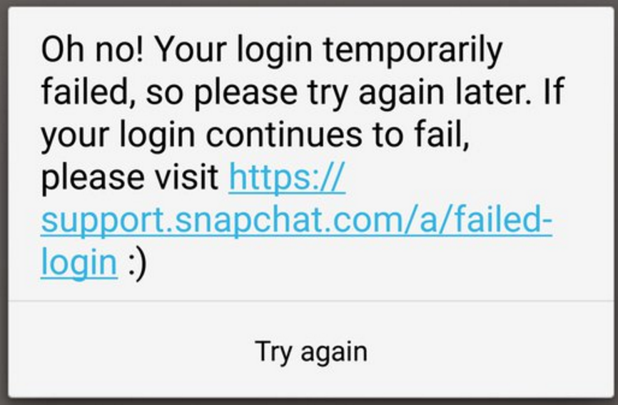 How to fix login temporarily failed on Snapchat